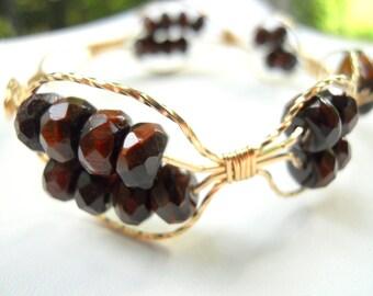 Red Tigereye Beaded Bracelet 14kt GoldFilled
