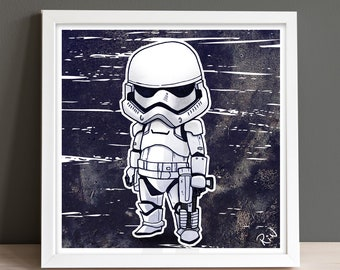 Storm Trooper Digital Art Print-Illustrated Square Wall Poster