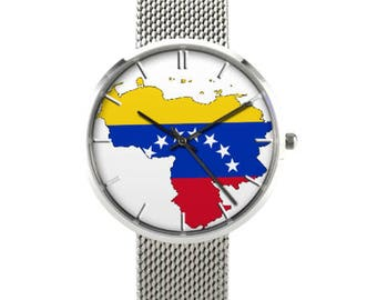 Venezuela Map -Handmade Watch, Stainless Steel, Waterproof, Venezuela Lovers Watch