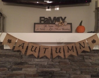Autumn Burlap Banner, Autumn Banner, Autumn Sign, Autumn Decor, Fall Banner, Fall Burlap Banner, Fall Sign