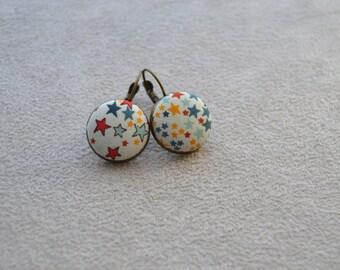 """boucles d'oreille collection"""" les textiles """" ton multicolore, boutons en tissu Liberty"""