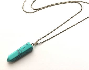 Turquoise Bullet pendant, Crystal point stone necklace,Blue Turquoise Silver necklace, Boho style jewelry