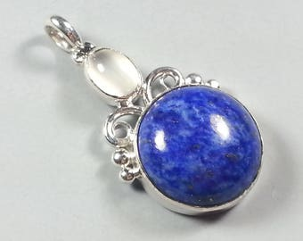 Beautiful Lapis Lazuli and Sterling Silver pendant with Glowing Moonstone