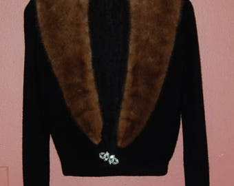 50's Black Cashmere Fur Collar Sweater Vintage Bombshell Pin Up Girl Luxurious Sweater