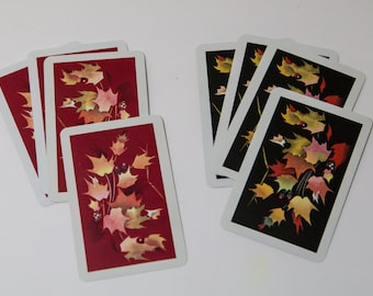 Vintage bridge cards, playing cards, fall leaves, 1980, Paper Ephemera, Kem Playing Cards, pack of 8, fall, Maple Leaf, maple leaf cards