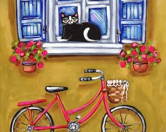 CAT in Paris with BIKE Folk Art Cat PRINT, colorful cat art print by Krista