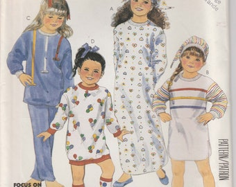 Pajama Pattern Nightshirt Hat Bootees - Stretch Knits Only Girls Size 12 - 14 Large Uncut McCalls 3389