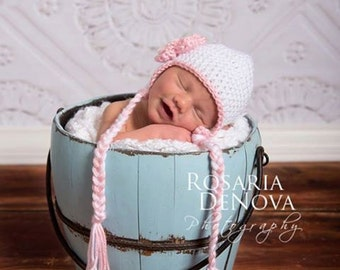 Baby Girl Hat, Ready to Ship, Toddler Girl Hat, Crochet Baby Hat, Newborn Photo Prop, Baby Shower Gift, Girl Ear Flap Hat, White Pink Hat