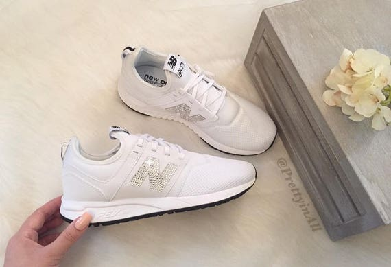 Bling White New Balance Sport 247 Shoes with Classic Silver Swarovski  Crystals