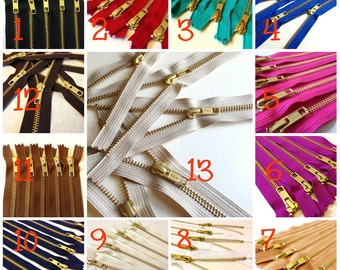 14 inch metal zippers, gold teeth, Choose 25 pcs, neutrals, pink, camel, fuchsia, blue, red, turquoise, great for leather purses, dresses