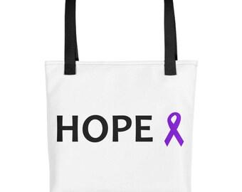 Hope Purple Awareness Ribbon Tote Bag, Chronic Illness Tote Bag, Purple Ribbon, Tote Bag, Awareness Ribbon