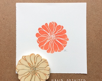 Zinnia Flower / Small Block Print