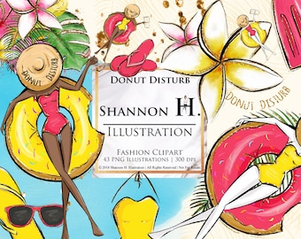 Donut Disturb, Summer Fashion Illustration Clipart Set