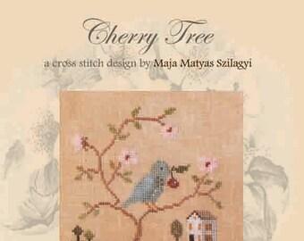 CHERRY TREE official printed cross stitch pattern, primitive, sampler, spring, bird