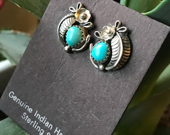Turquoise Sterling Silver Squash Blossom Earrings