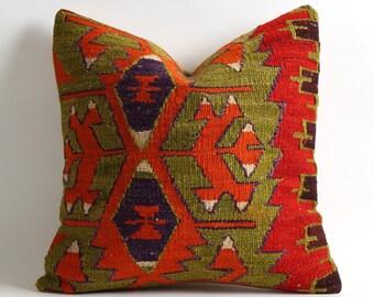 gypsy pillow, bohemian pillow, boho pillow, kilim pillow case