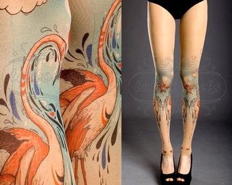 Tattoo Tights - nude one size Flamingo Love full length footless printed tights / pantyhose / tattoosocks /
