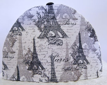 Handmade Black and White Paris Eiffel Tower Tea Cozy