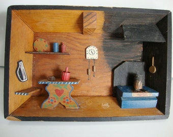 Antique 1950s Rustic Shadowbox Picture Wood Country Kitchen