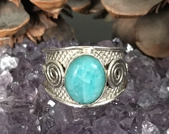 SALE!! Amazing, genuine amazonite 925 sterling silver ring