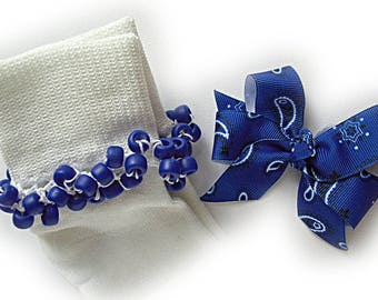 Kathy's Beaded Socks - Royal Blue Bandana Socks and Hairbow, girls socks, pony bead socks, royal blue socks, bandana socks, school socks