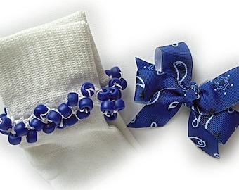 Kathy's Beaded Socks - (Last One) -  Royal Blue Bandana Socks and Hairbow, girls socks, royal blue socks, bandana socks, school socks
