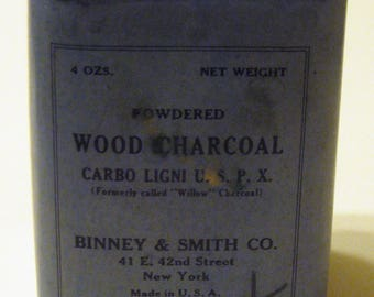 "Vintage Binney & Smith CO. ""Powdered Wood Charcoal"" Tin"