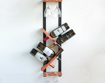 Industrial Chic Vertical Wine Rack and Hanging Stemware Glass Holder | Wall Wine Rack | Wine Bottle Holder Display Bar