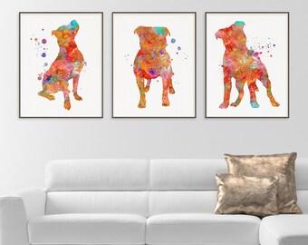 Pitbull Watercolor Art Print, Pitbull Painting, Set of 3 Prints, Pitbull Wall Art, Pitbull Wall Decor, Dog Lover Gift, Pitbull Poster,