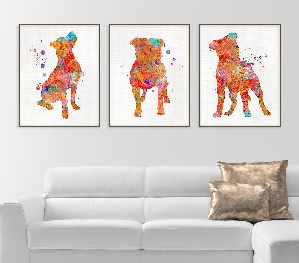 Pitbull watercolor art print pitbull painting set of 3 zoom jeuxipadfo Gallery