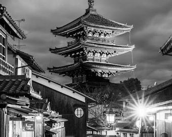 Yasaka Pagoda Black and White - Kyoto at Night - Japan Photography