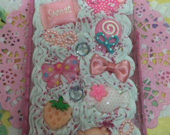 Pink iPhone 4 4s Case Deco Decoden Kawaii Whip Whipped Cream Ice Cream