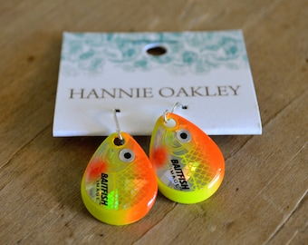 Fishing Lure Earrings, Fishing Jewelry, Lure Earrings - Fish Eye (Orange)