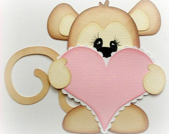 monkey with heart valentine premade paper piecing scrapbooking embellishment by My tear bears by Kira