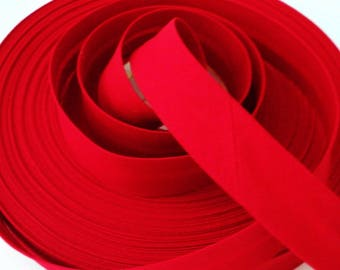 Red Cotton Bias Binding 25mm Polycotton Tape Folded