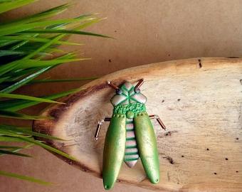 Cicada brooch; polymer clay cicada pin; green cicada brooch; insect cicada pin; handmade cicada pin; cicada jewelry;  little insect brooch