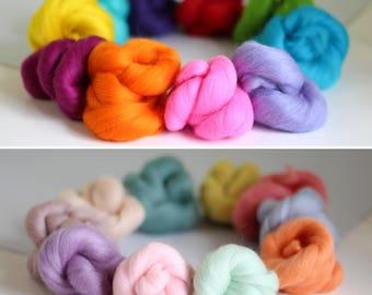 Wool Roving Bundles {Brights & Pastels Special Offer} Roving Wool, Felting Wool, Wool Roving, Dyed Roving, Needle Felting, Merino Wool