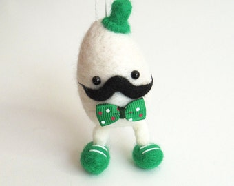 Christmas felt egg ornament Needle felted eggman - white egg doll with mustache, a green hat and bow tie Felt figurine