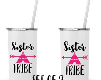 Sister Tribe, Set of 2 - Personalized 12 0z. Roadie Tumbler with Straw and Lid, Insulated Stainless Steel