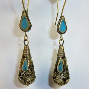 Tribal Earrings, Vitage Tribal Teardrop-Earrings, Boho Hippie-Earrings, Tribaljewelry, Teardrop with Colored Stones