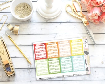 Blank Stackable Sidebar Weekly Habits Stickers || 20 Planner Stickers || Erin Condren Life Planner (Vertical Layout)