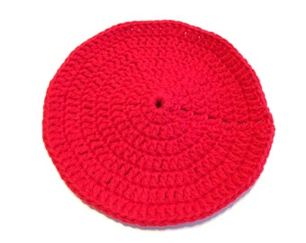 Red Crocheted Round Dish Cloth