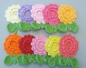 10 Large Handmade Crochet Flower Appliques...10 Colors... EA198