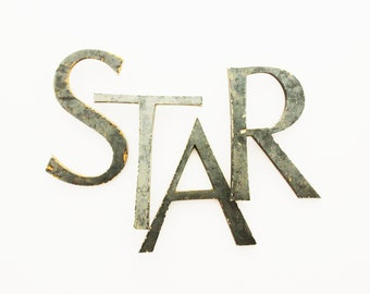 STAR - Vintage Letters - Vintage Marquee Letters - Large - Sign - Home Decor - Industrial - Metal - Supplies - NIght