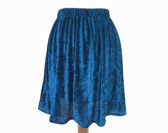 Teal velvet skirt, Christmas skirt, teal skirt, winter, autumn, blue, 90's fashion, 90's skirt, grunge, boho, grunge fashion, XS, S, M, L