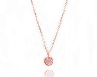 Druzy POP Necklace - Aurora Borealis Druzy in Rose Gold - Druzy / Drusy Necklace - 24k Gold Vermeil - Small Round Druzy Drop Charm Pendant
