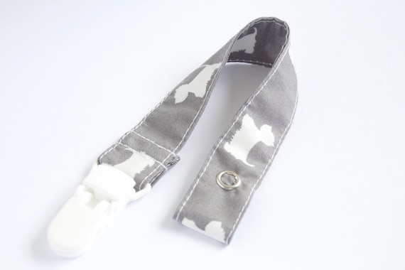 Grey with white scotty dogs dummy clip/ pacifier clip
