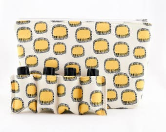 Essential Oil Bag/  Essential Oil Travel Bag/ Essential Oil Pouch/ Essential Oil Carry Bag/ Essential Oil Case - Vintage Mustard Pattern