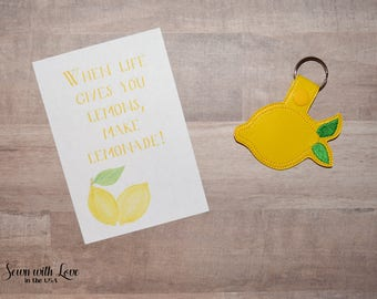 Lemon Key Chain | Lemon Key Fob | When Life Gives You Lemons, Make Lemonade | Key Chain | Key Fob | Gifts Under 10 | Summer Key Chain