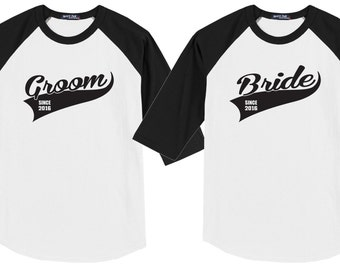 BRIDE & GROOM Matching Set of Jerseys Style Tee Shirts with Your Custom Date